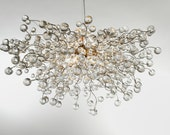 Modern Hanging chandeliers with Clear Transparent color bubbles  - light fixture for dinning room, living room or open space.