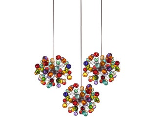 Triple Pendant Chandelier ceiling lighting - multicolored bubbles for Kitchen Island, Dinning Room or living room.