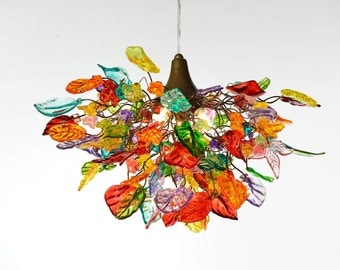 Lighting hanging chandeliers with Multi color flowers and leaves, for dinning room, hall or bedroom.