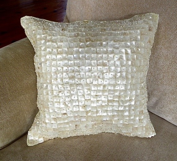 Mother of Pearl Pillow Vintage Shell Decor 15 x 15