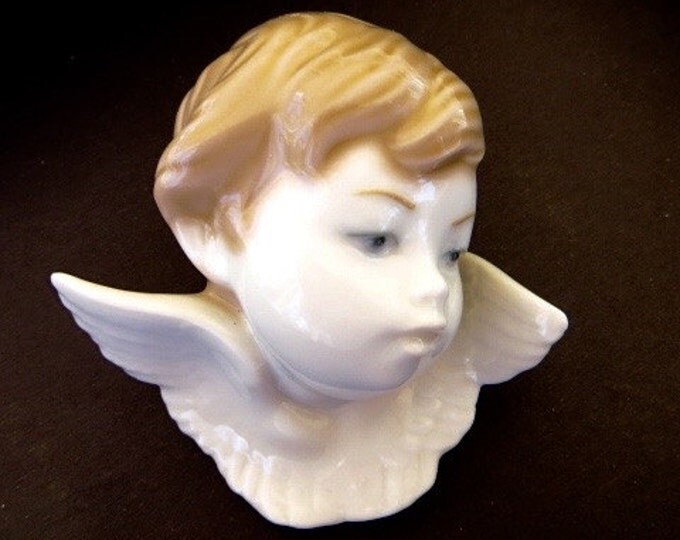 Lladro Angel Head Cherub Bust Celestial Collectibles Guardian Angel Baby Gift Sympathy Gift Vintage