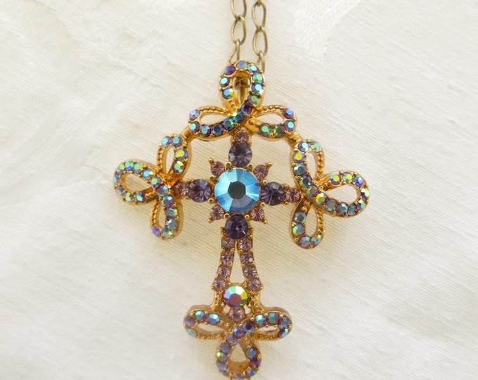 Vintage Kirks Folly Cross Necklace, Cross Brooch, Aurora Borealis Rhinestones, Crystal Beads