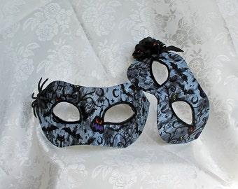 Couples Masks, Black and Grey  Masquerade Ball Masks Matching Black Bat Cotton Print Party Masks