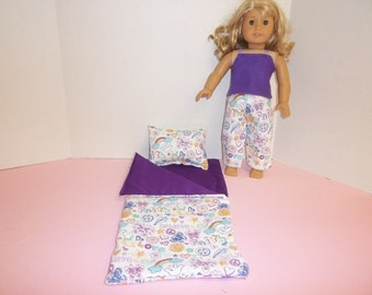 Fits American Girl Doll  I Believe Sleeping Bag Pillow and Pajamas 89
