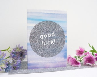 Good Luck Watercolour + Glitter Graphic Greetings Card