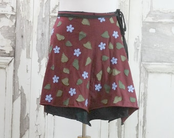 Alabama Chanin Style Hand Stitched Appliqued Wrap Skirt Upcycled Clothing Plus  Size Skirt Wearable Art