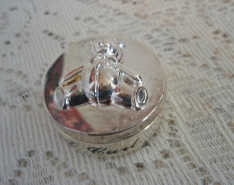 "Baby's First Curl, Silver Plate box with Bear, Silver memory box, 1 3/4"" silver plate keepsake box for Baby's First Curl"
