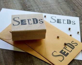 Seeds Rubber Stamp, Hand Carved Stamp, Seed Stamp, Seed Saving Envelope, Seed Packet Stamp, Heirloom Gardening, Heritage Garden Seeds 020