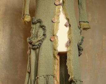 Faerie Olivaceea Art coat/Lamiales/fantasie coat/Bohemian coat