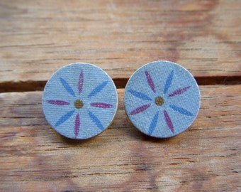 Art Deco Style Stud Earrings, Upcycled Book Cover Earrings, Book Lover Stud Earrings, Book Nerd Earrings, Circular Earrings, Book Earrings