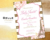 Baby Shower Invitation - Paris Inspired with Gold Glitter Stripes - DIY Printable - Pink Watercolor flowers