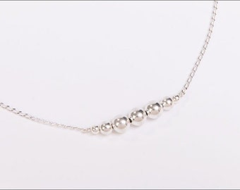 Sterling silver ball bead necklace