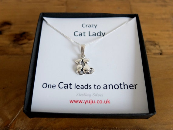 Crazy Cat Lady Necklace with Quote, Cuddling Cats Necklace, Gift for cat Lover, Friend Keepsake, Friendship Gift, Feline Keepsake, Love Cats