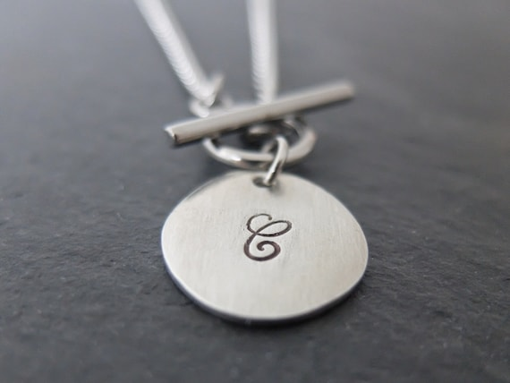 Monogram Necklace, Necklace with Initial, T-Bar Necklace, Personalised Necklace, Necklace with Initial Charm, Pewter Initial Charm Necklace