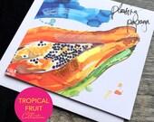 Papaya Art Card - Tropical Fruit Collection (Greeting Card)