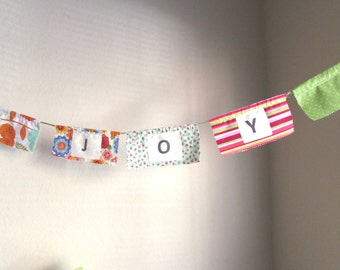 Prayer Flags,  Fabric Flower Banner, Letter Banner, Photo Prop, Wall Decor, JOY Word Banner, Inspirational Flags, Fabric Bunting