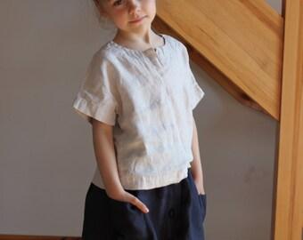 Girls light grey linen shirt Soft linen summer shirt for girl White girls linen shirt Girl Orange Light Pink shirt