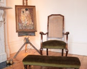 Vintage Rattan Occasional Green Velvet Chair with Long Footstool to match.