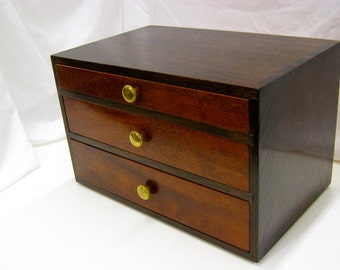 Walnut and mahogany dovetailed  box with drawers