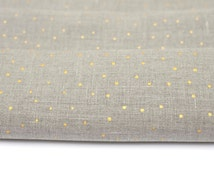 Linen fabric with gold. Gray color 100% Natural Linen Fabric ( flax) with gold dots by inches, meter,yardage. MORE  are AVAILABLE