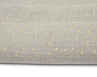 Linen fabric with gold. Gray color fabric.  Natural Linen fabric by the yard,  inches, meter. MORE  are AVAILABLE