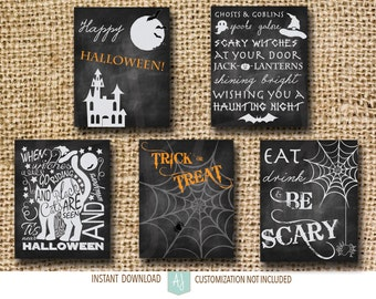Set of Five Halloween Decorations-Printable Chalkboard Signs-Customization NOT Included