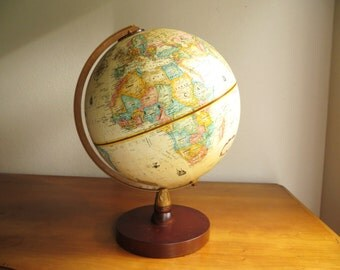 Vintage Replogle World Globe, World Classic Series, Antique Color Globe, 9 inch Diameter Globe, Brown Wood Stand
