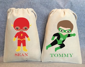 "14- Superhero party, Superhero Birthday, Superhero favors, Batman Party, Superman, Robin, Superhero Party Favor Bags, Superheroes, 4""x6"""