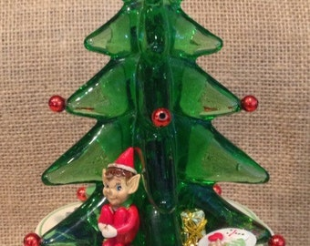 Hand Blown green glass Christmas tree