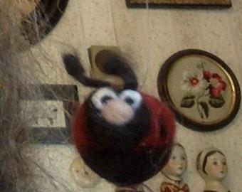 Felted ladybug ornament