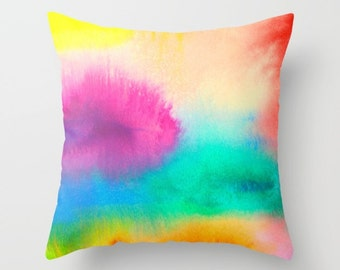 Bright Abstract Watercolor Pillow Cover, Watercolour Cushion Cover, Abstract Watercolor