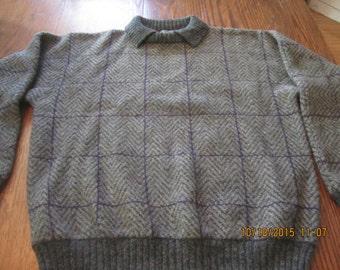 Gorgeous Grey Herringbone Wool Sweater Shetland Wool Pullover
