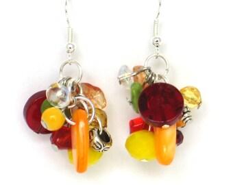 Multi-Color Earrings, Orange, Yellow, Red, Green, Chandelier Earrings, Mother's Day, Cruise Wear, Resort Wear, Beach Earrings