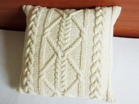 off white cable knit pillow cover wool tan throw pillow hand. Black Bedroom Furniture Sets. Home Design Ideas