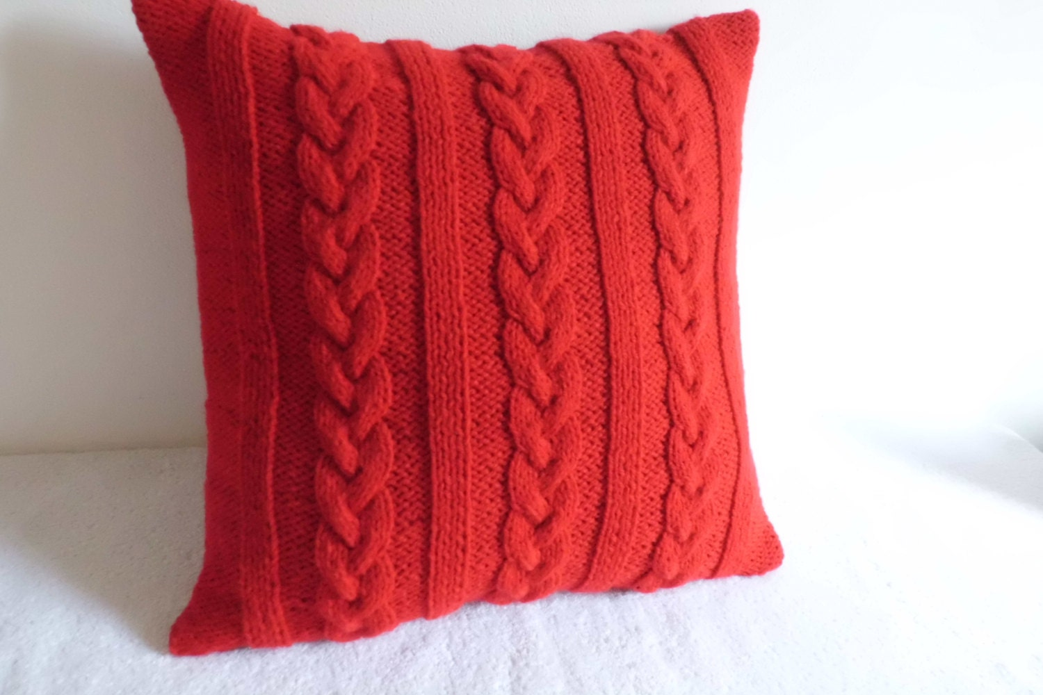 Cable Knit Pure Red Pillow Cover Hand Knit Throw Pillow