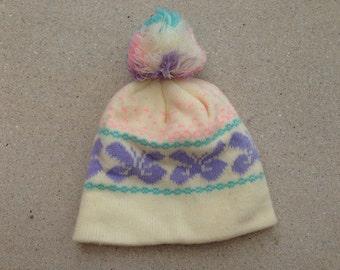 90s cute pastel butterfly snow hat
