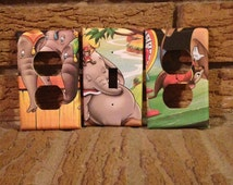 Dumbo Set of Light Switch and Electrical Socket Covers, Dumbo Nursery, Dumbo Baby Shower, Dumbo Decoration, Dumbo Decor