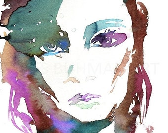 ON SALE Portrait of Woman Watercolor Print, Watercolor Portrait, Fashion Illustration, Watercolor Painting for Her, Watercolor Art, Watercol