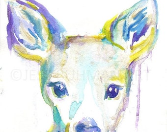 "ON SALE Original Deer Watercolor Painting, Deer Painting, Baby Deer Art, Nursery Art, Titled ""Delighted"" by Jessica Buhman 9 x 12"