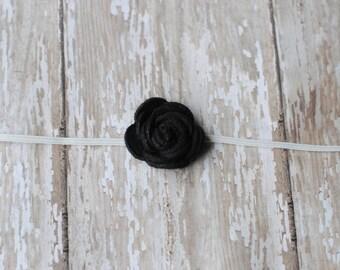 Baby headbands Black Headbands Tiny felt flower Headband  Photography Prop Newborn Baby Girl Headband