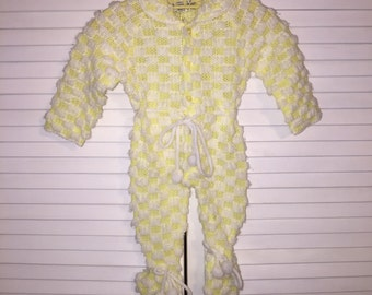 Kmart Yellow White Knit Romper Sleeper Soft Sz 0/6M Boy Girl