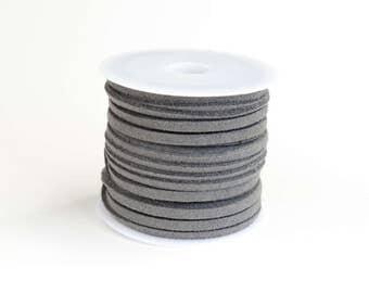 Grey Suede Cord, Faux Suede Cord, Grey Lacing, 16 feet