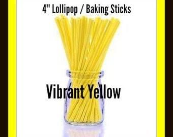 25/100 Lollipop Sticks ( 4 inch )  Bright Yellow .. Baking Sticks, Candy Sticks, Cookie Sticks, Lollipop Sticks, Paper Baking Sticks