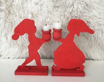 vintage mid century modern sweden red wood candle holder candlestick wooden home decor minimalist rustic primitive silhouette girl boy