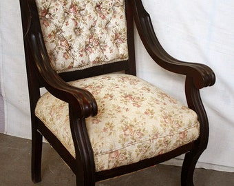 Antique Vintage Walnut Wood Wooden Dining Side Accent Chair Fabric Seat Cushion