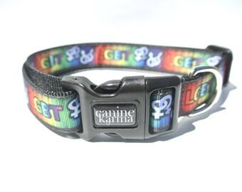 "LGBT Dog Collar - 1"" Adjustable Gay Pride Collar"