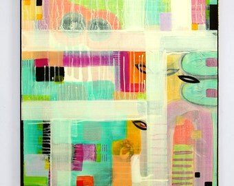 Colorful abstract painting, modern acrylic painting by M.Schöneberg 28x28x0,75