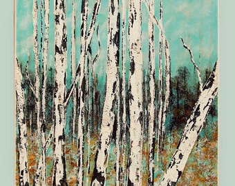"Birch trees acrylic painting, landscape Painting, original handmade painting, home & living art M.Schöneberg  ""Birch trees""16x16x0,75"