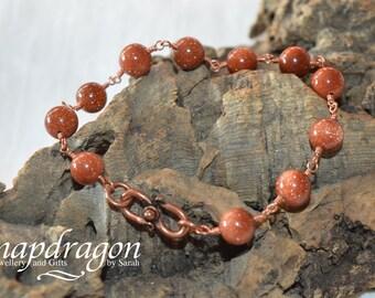 Goldstone beaded bracelet with copper