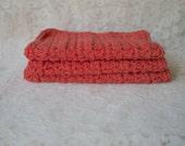 Crochet Wash Cloths Set of 3 Cotton Wash Rags